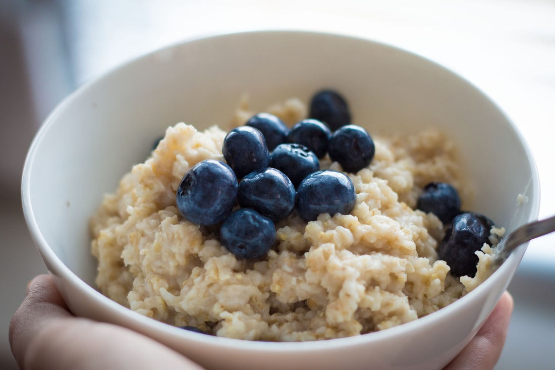 Oatmeal with Blueberries in Bowl